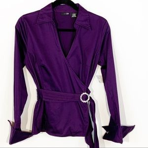 East 5th Dark Purple Blouse with Belt Size 4 NWOT